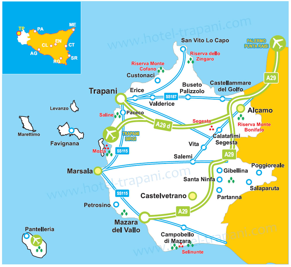 Map of Trapani province