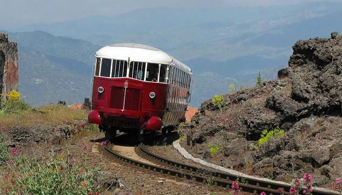 The train of the wines of Etna