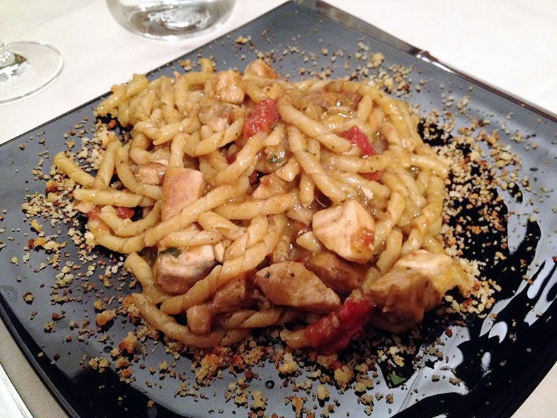 Busiate pasta with swordfish and aubergine