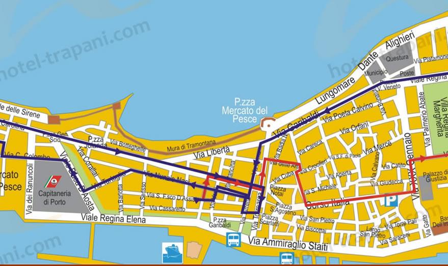 Itinerario processione dei Misteri 2020 Trapani