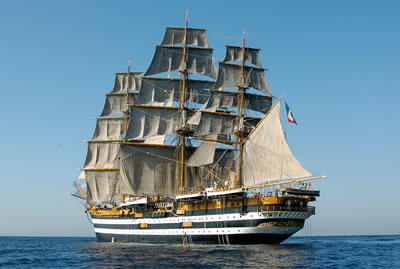 Amerigo Vespucci ship in Trapani