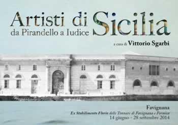 Sgarbi presenta gli artisti di Sicilia alla Tonnara di Favignana.