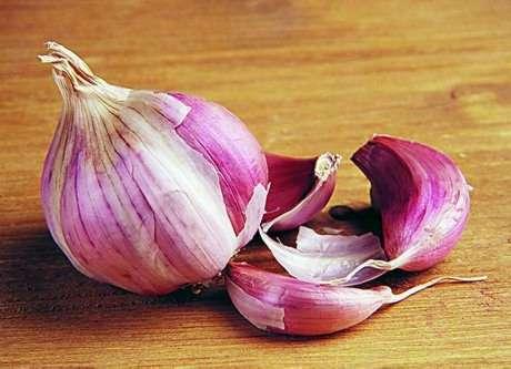 Red Garlic and white salt