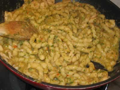 Busiate pasta with trapanese pesto and shrimps.
