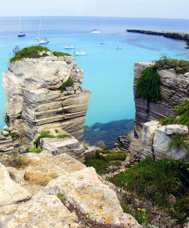 Travel on the island of Favignana, land and sea tuffs dips